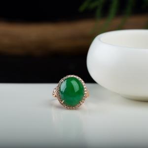 18k糯种翠绿翡翠蛋面戒指