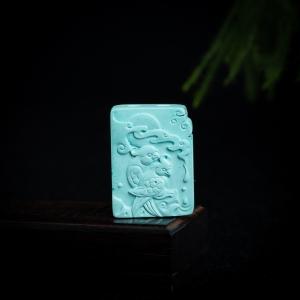 高瓷蓝绿绿松石喜上眉梢吊坠