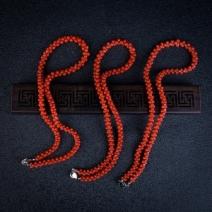 沙丁正红珊瑚兽骨项链