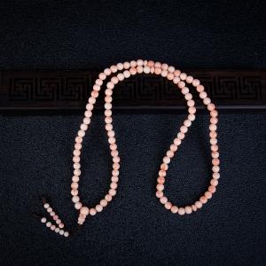 深水粉白色珊瑚108佛珠