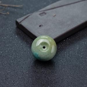 高瓷铁线俏色绿松石平安扣吊坠