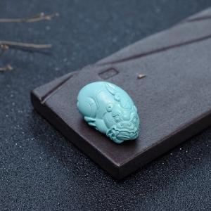 中高瓷铁线浅蓝绿松石貔貅吊坠
