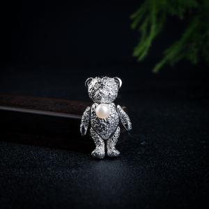 合金海水珍珠小熊吊坠胸针两用款