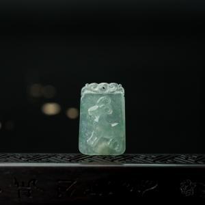 糯冰种飘翠翡翠未羊吊坠