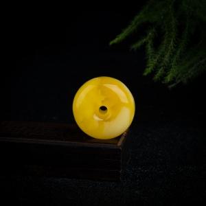 褐黄白花蜜平安扣吊坠