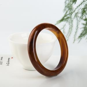 59.3mm山料褐黄黄龙玉平安镯