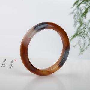 59.4mm黑金沙料俏色黄龙玉平安镯