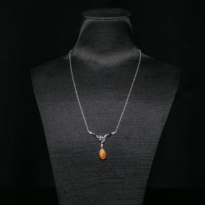 银镶彩斑螺项链