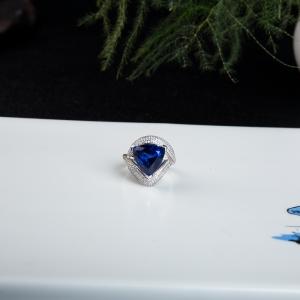 18K深蓝色坦桑石戒指