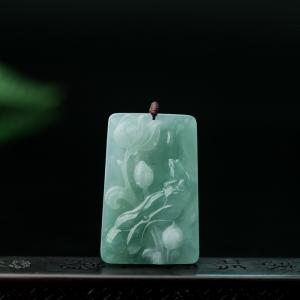 糯冰种浅绿翡翠荷叶吊坠