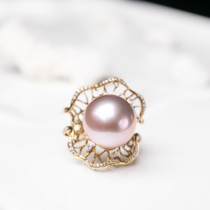 18K淡水紫色珍珠戒指