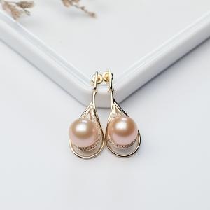 银镶淡水粉色珍珠耳坠