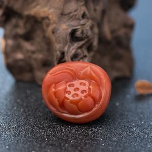 柿子红南红莲花吊坠