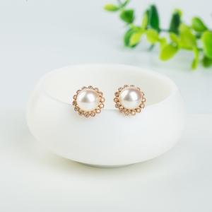 18k海水白色珍珠耳釘