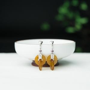 18K糯冰种黄翡耳坠