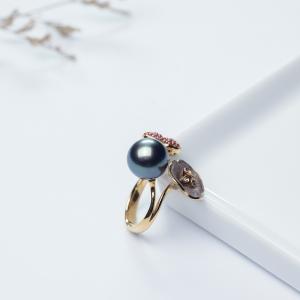 19K海水黑色珍珠戒指