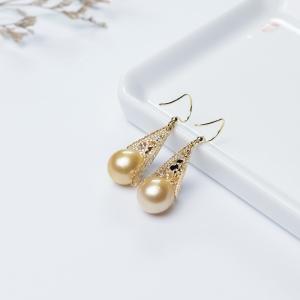 18K海水金色珍珠耳坠