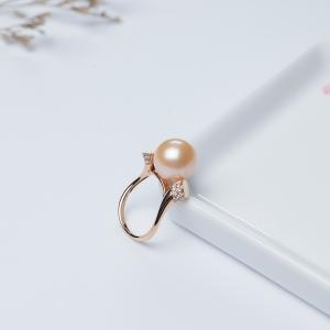 18K淡水粉色珍珠戒指