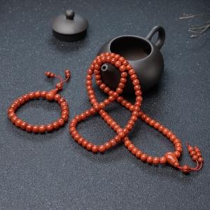 柿子红南红桶珠套装(两件)