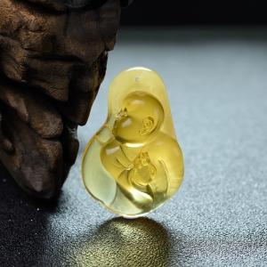 鸡油黄金绞蜜佛吊坠