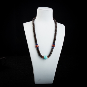 中瓷蓝绿松石圆珠项链
