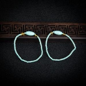 中瓷蓝绿松石单圈手串单件