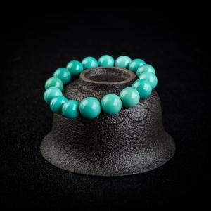 11.5mm高瓷蓝绿绿松石单圈手串