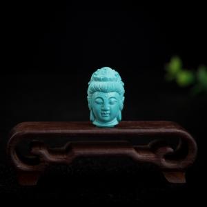 高瓷蓝绿松石观音吊坠
