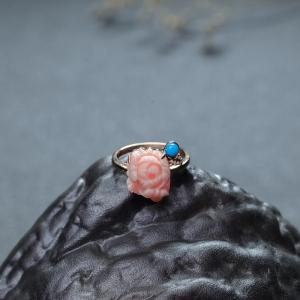 18K深水珊瑚牡丹花戒指