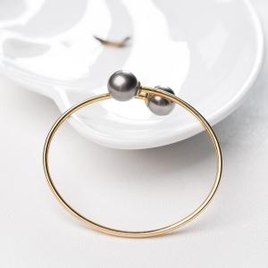 56.5mm18K海水黑色珍珠手镯