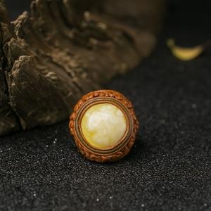 白花蜜蜡戒指