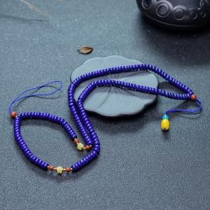 紫蓝色青金石算盘珠配链