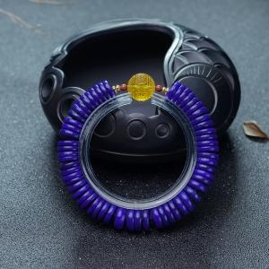 紫蓝色青金石隔片单圈手串