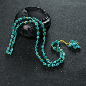 高瓷铁线蓝绿绿松石随形多圈手串