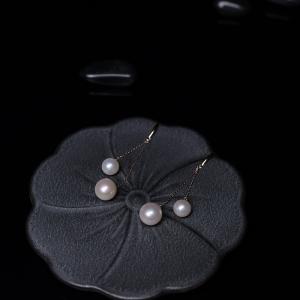 18K淡水粉色珍珠耳坠