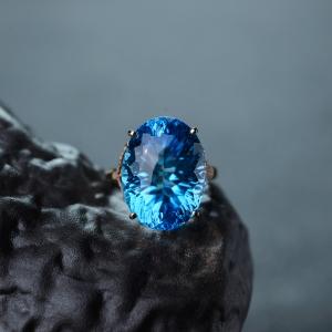 18K瑞士蓝托帕石戒指
