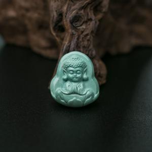 中高瓷蓝绿绿松石宝宝佛吊坠