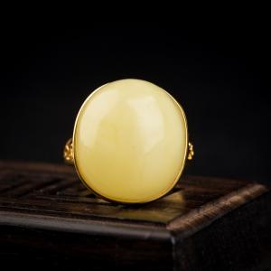 銀鑲淺黃蜜蠟戒指