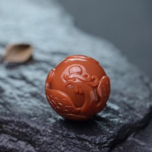 柿子红南红牡丹引凤配珠