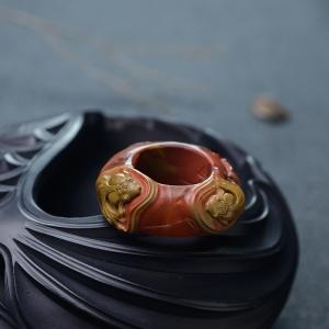 铁皮包浆料南红年年有余指环