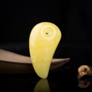 鸡油黄白花蜜勾玉吊坠