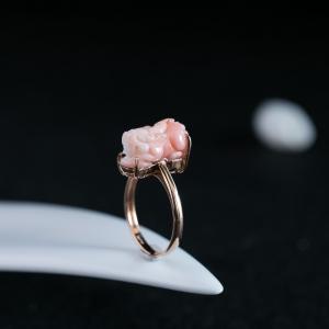 18K深水珊瑚貔貅戒指