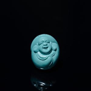 高瓷蓝绿松石佛吊坠