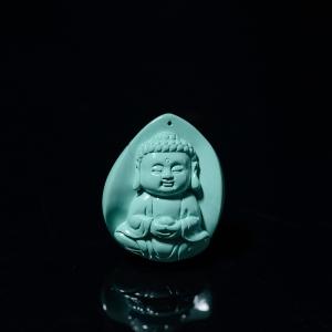 高瓷蓝绿绿松石宝宝佛吊坠