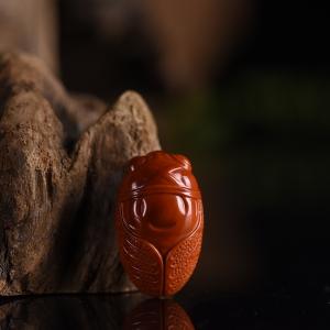柿子紅南紅禪意吊墜