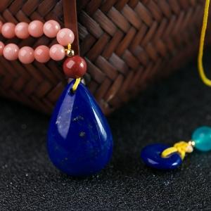 深蓝色青金石水滴吊坠
