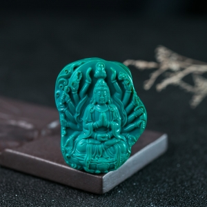 高瓷蓝绿绿松石千手观音吊坠