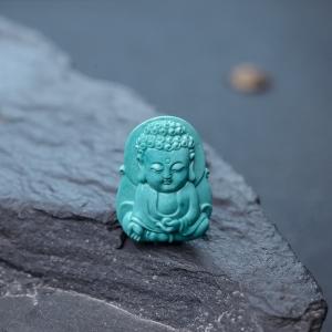 高瓷蓝绿松石宝宝佛吊坠