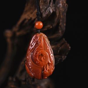 柿子红南红龙凤吊坠