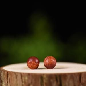 11.0mm柿子红南红圆珠配饰(二件)